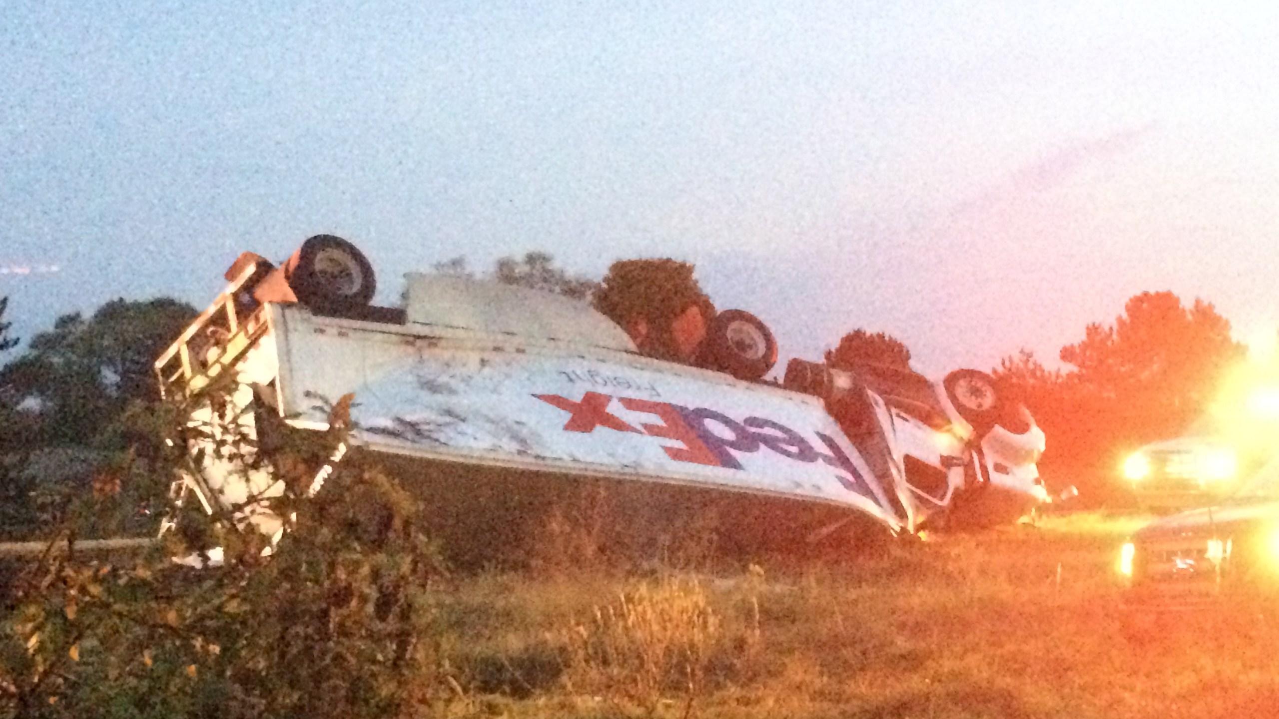 Semi-truck crash slows traffic on I-94 in Jackson Co