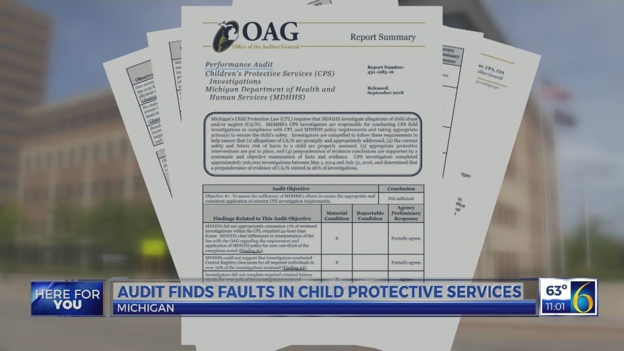 Audit finds faults in child protective services in Michigan