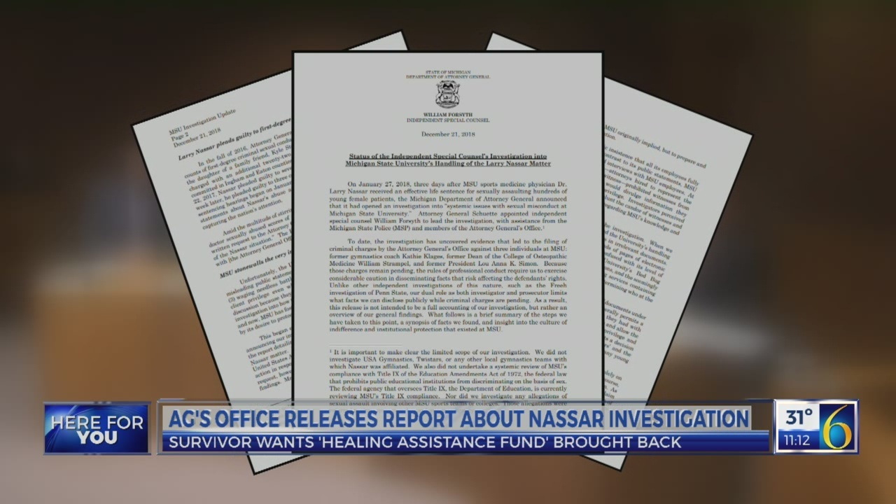 AG's office releases Nassar investigation report