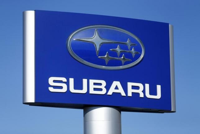 A Subaru sign is pictured at a car lot in Carlsbad, California_37698