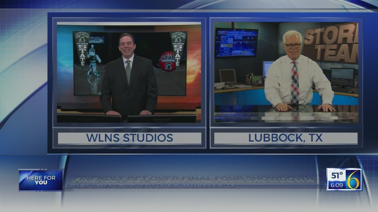 Friendly Final Four wager between WLNS and KAMC