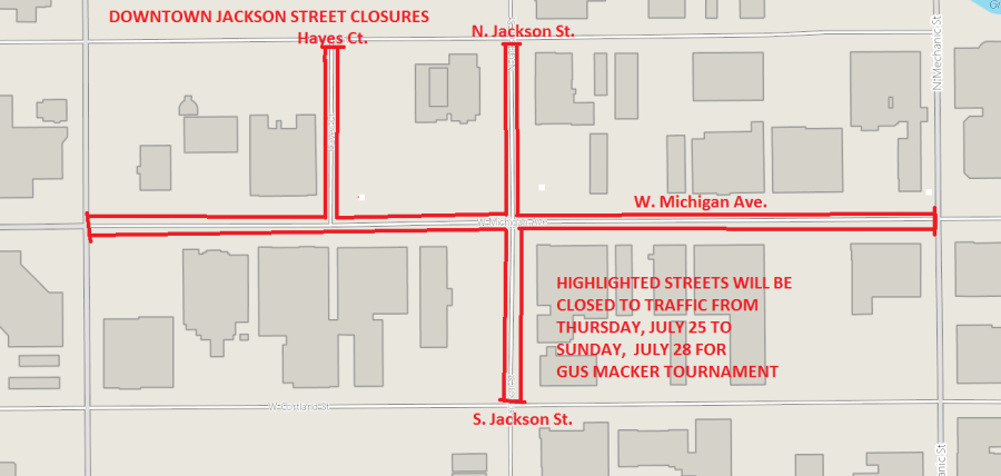 Street closures in Jackson for Gus Macker Basketball