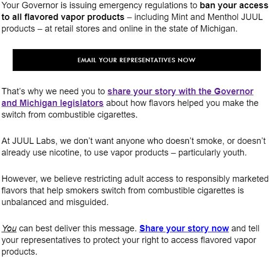 JUUL asks customers to respond to Gov  Whitmer ban | WLNS 6 News