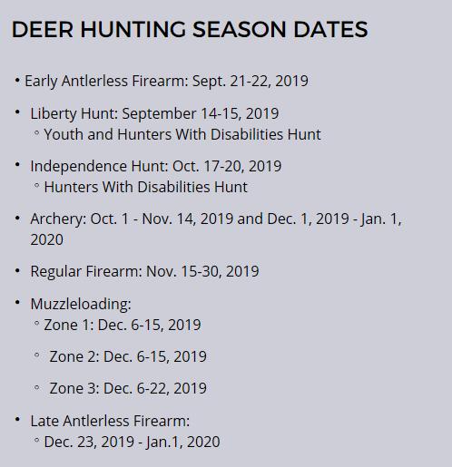 Deer hunting season dates