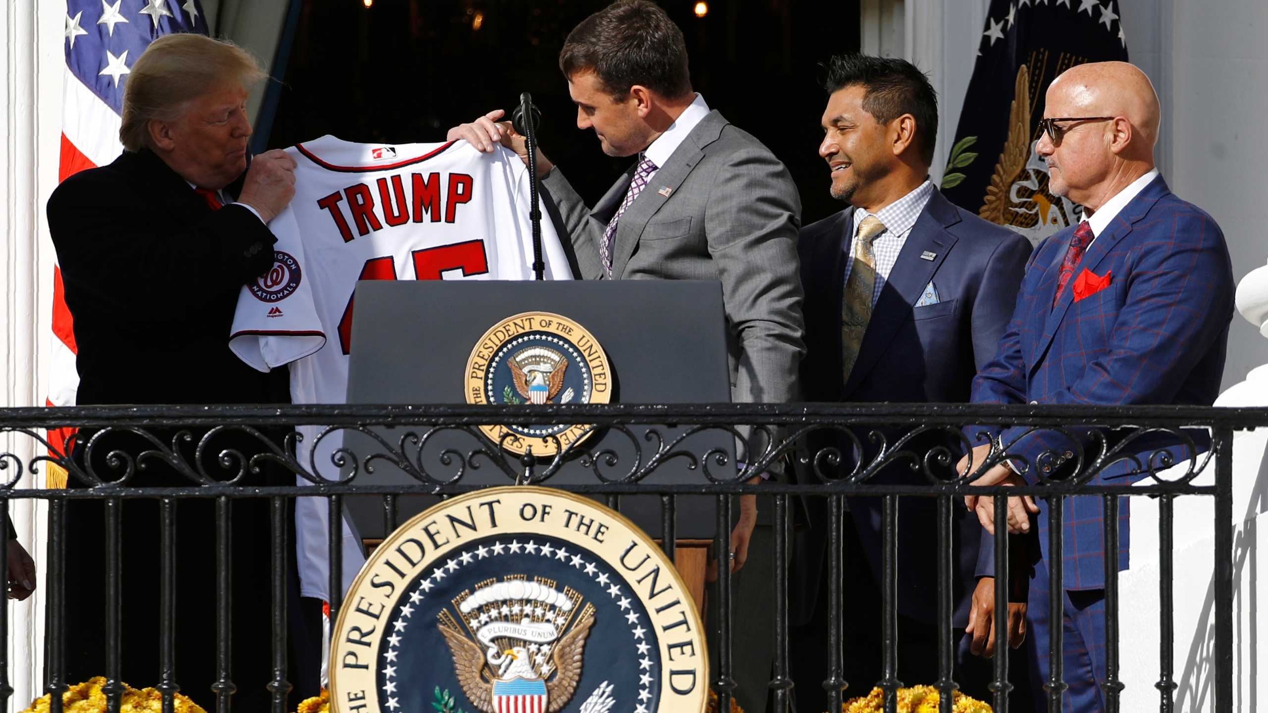 Ryan Zimmerman, Donald Trump, Dave Martinez, Mike Rizzo