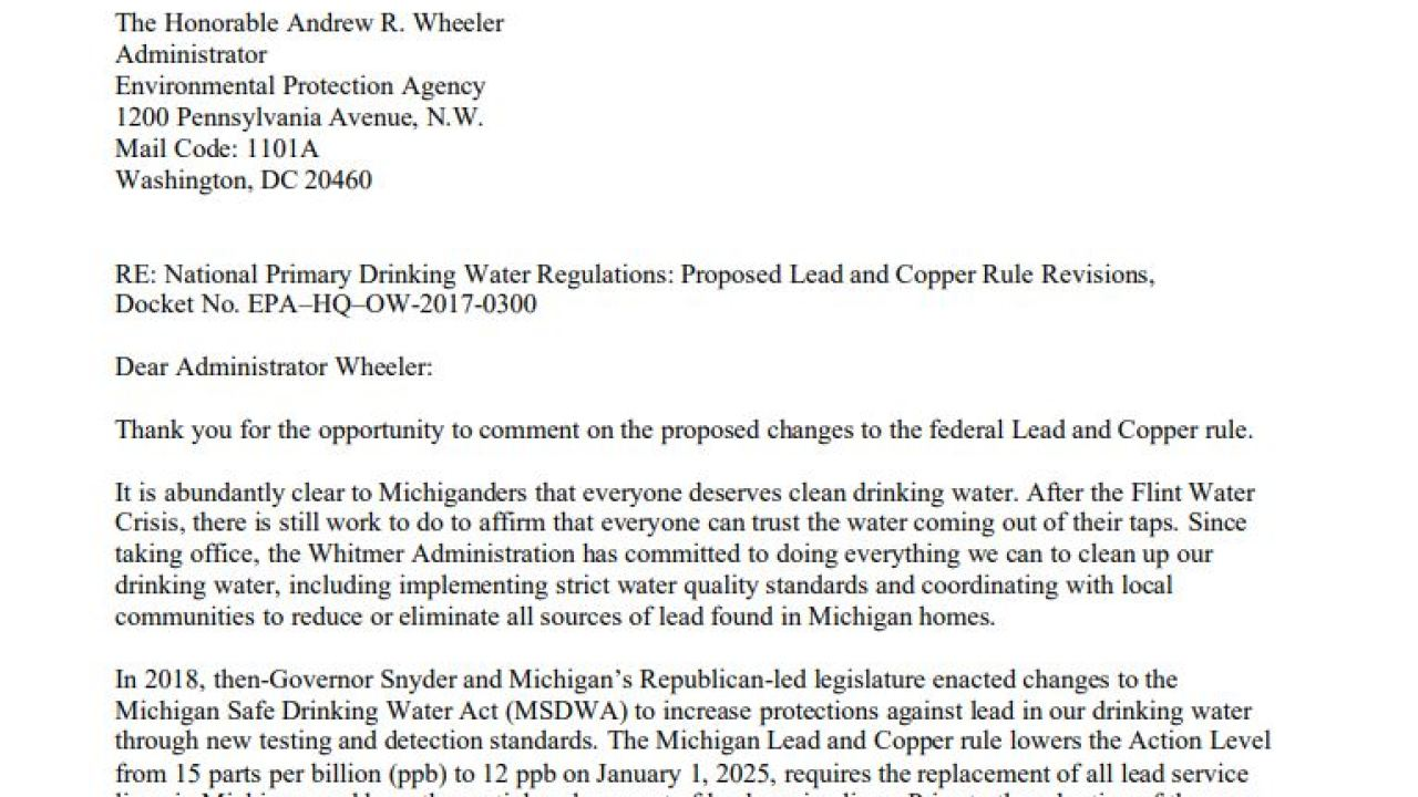 Whitmer sends letter to EPA for greater enforcement of lead and copper rules
