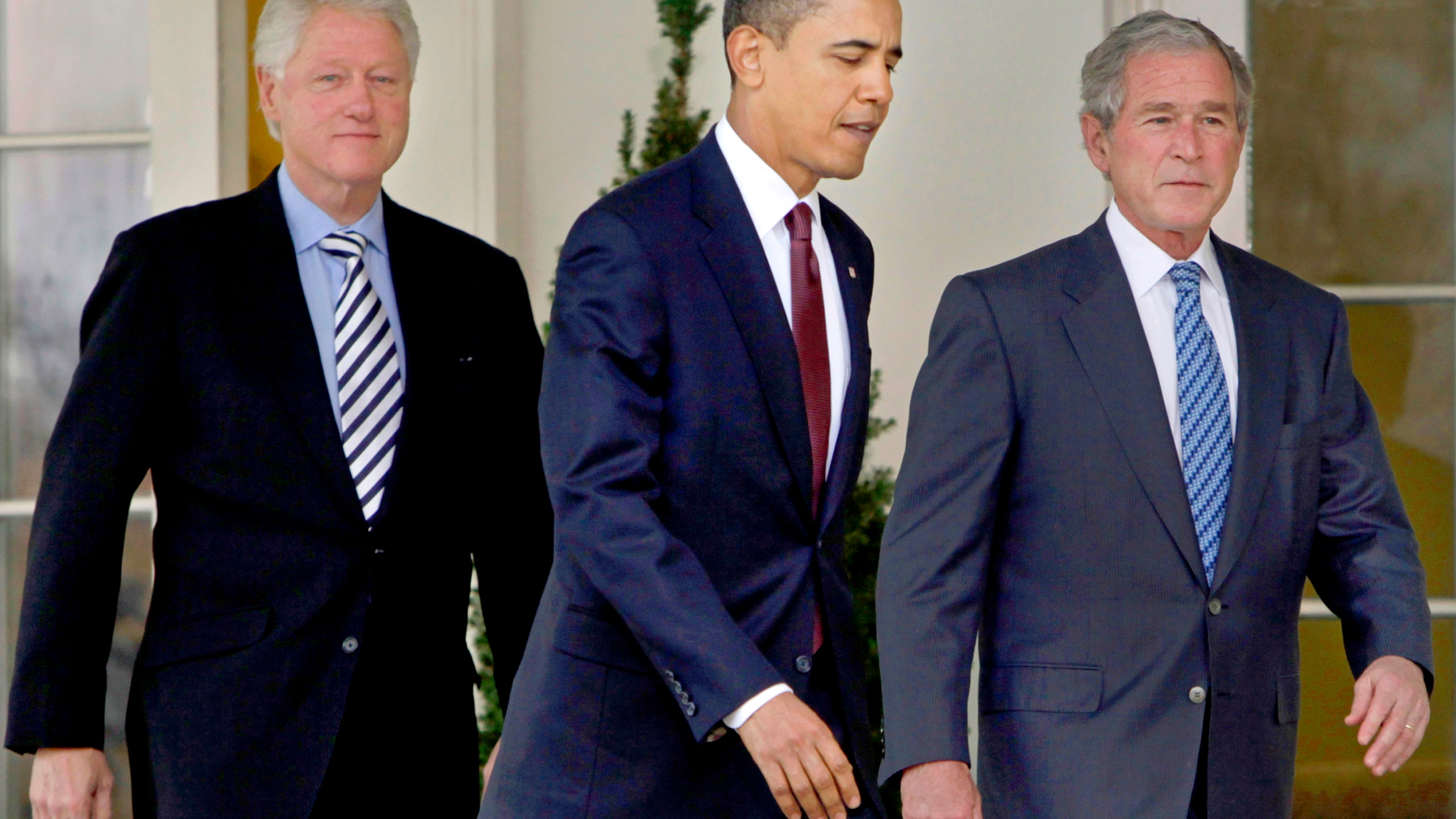 Barack Obama, Bill Clinton, George W. Bush