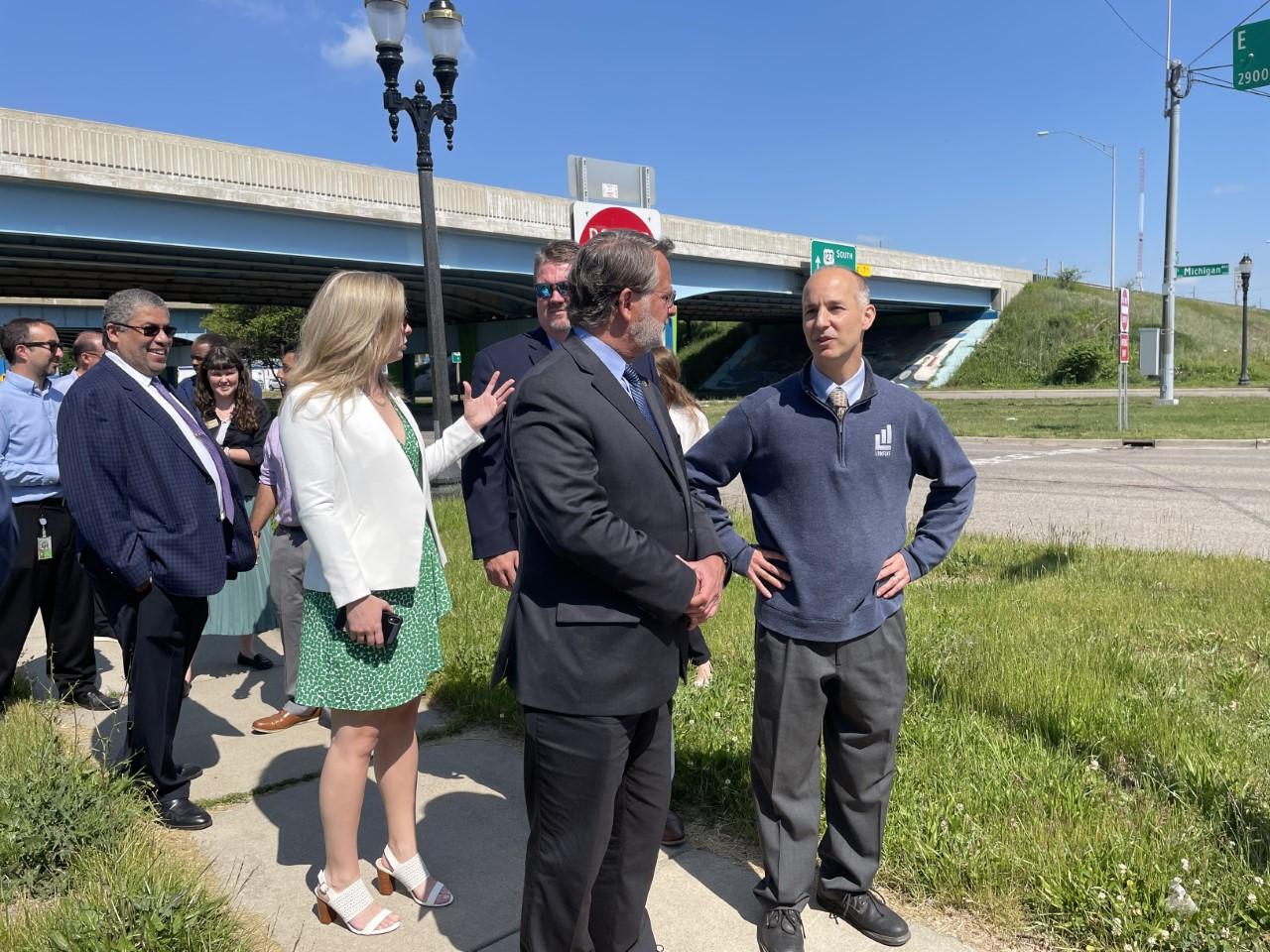 Sen. Gary Peters, and Lansing mayor Andy Schor touring Michigan Ave.